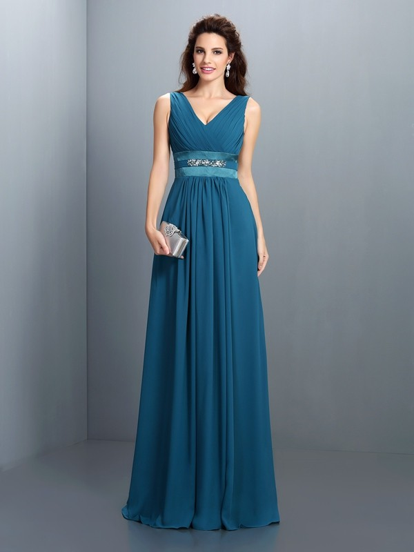 A-Line/Princess V-neck Beading Sleeveless Long Chiffon Bridesmaid Dresses