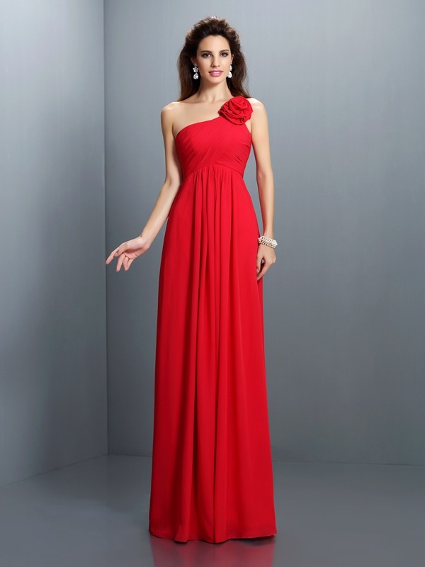 A-Line/Princess One-Shoulder Hand-Made Flower Pleats Sleeveless Long Chiffon Bridesmaid Dresses