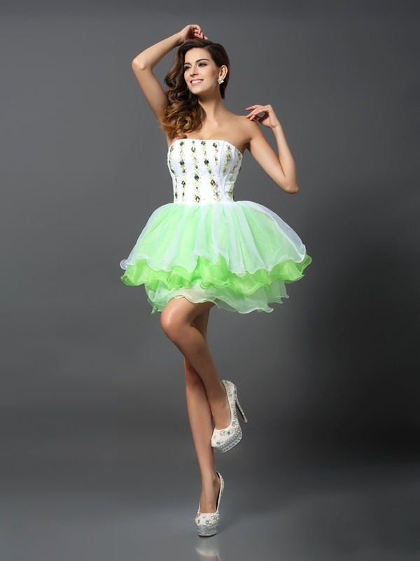 A-Line/Princess Strapless Ruffles Sleeveless Short Organza Cocktail Dresses