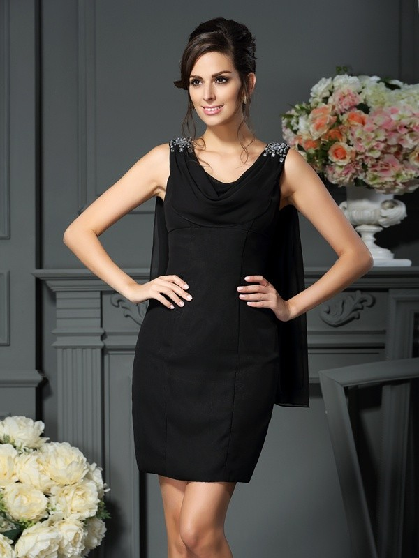 Sheath/Column Scoop Beading Sleeveless Short Chiffon Mother of the Bride Dresses