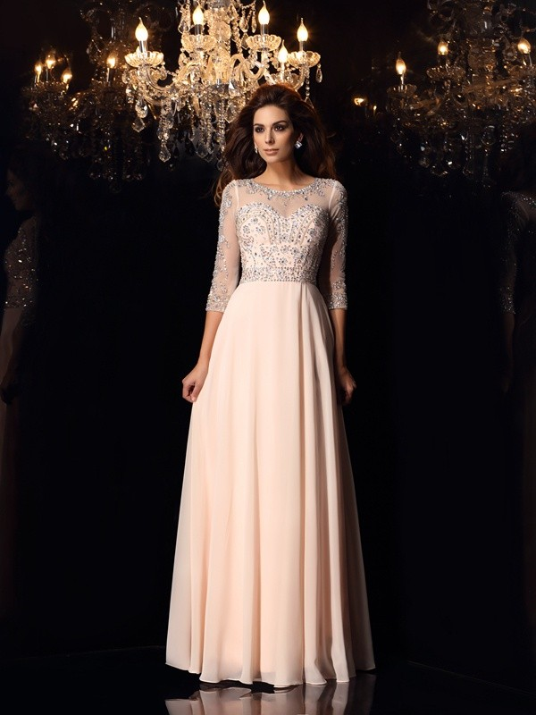A-Line/Princess Scoop Beading 3/4 Sleeves Long Chiffon Dresses
