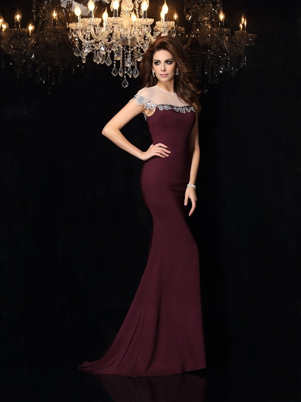 Trumpet/Mermaid High Neck Applique Sleeveless Long Elastic Woven Satin Dresses