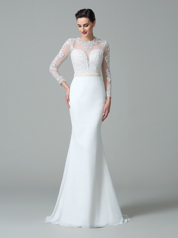 Trumpet/Mermaid Jewel Lace Long Sleeves Long Satin Wedding Dresses