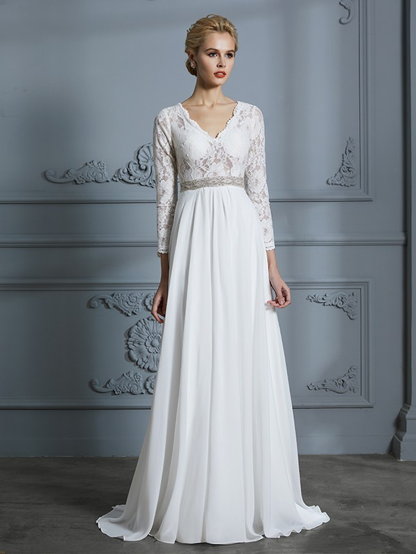 A-Line/Princess 3/4 Sleeves V-neck Lace Sweep/Brush Train Chiffon Wedding Dresses