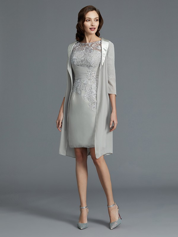 Sheath Scoop 1/2 Sleeves Chiffon Short/Mini Mother of the Bride Dresses