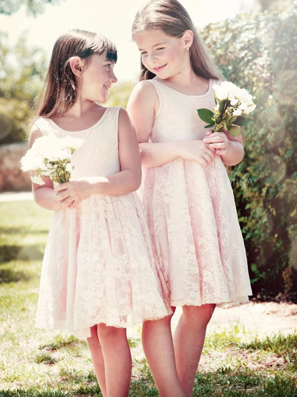 A-Line Sleeveless Scoop Knee-Length Ruffles Lace Flower Girl Dresses