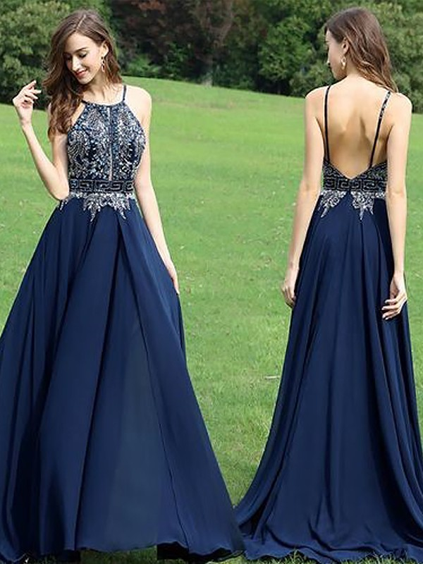 A-Line Sleeveless Halter Chiffon Beading Floor-Length Dresses