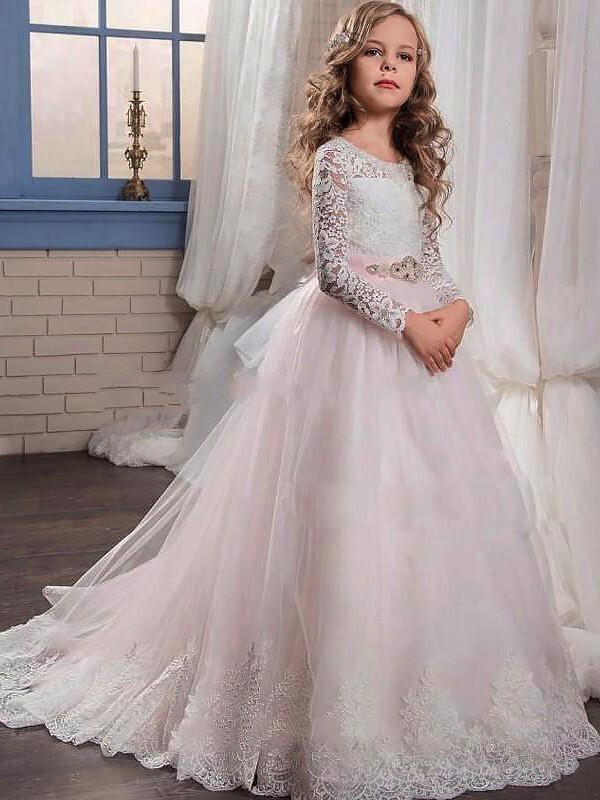 Ball Gown Jewel Long Sleeves Lace Sweep/Brush Train Tulle Flower Girl Dresses