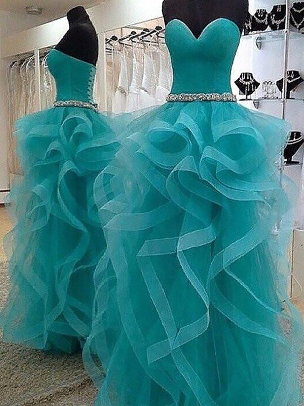 Ball Gown Sleeveless Sweetheart Floor-Length Tulle Dress