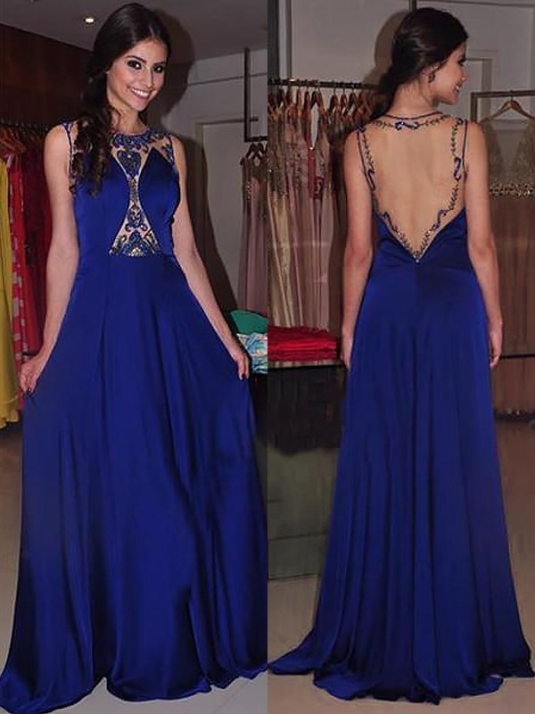 A-Line Bateau Sleeveless Sweep/Brush Train Beading Chiffon Dresses