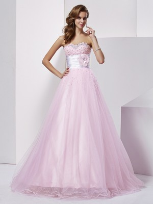 Ball Gown Strapless Sweetheart Net Elastic Woven Satin Beading Floor-Length Dresses
