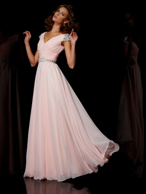 A-line/Princess V-neck Floor-length Short Sleeves Beading Chiffon Dresses
