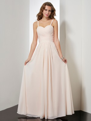 Sheath/Column Sleeveless Spaghetti Straps Ruffles Floor-length Chiffon Dresses