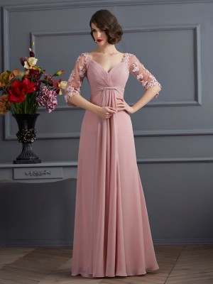 A-Line/Princess Sweetheart 1/2 Sleeves Floor-Length Applique Chiffon Dresses