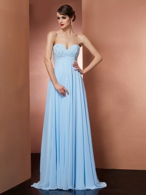 A-Line/Princess Sweetheart Beading Sleeveless Floor-Length Chiffon Dresses