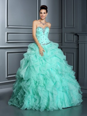Ball Gown Sweetheart Sleeveless Beading Floor-Length Organza Quinceanera Dresses