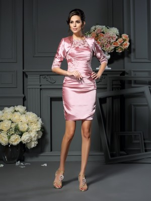Sheath/Column Scoop Applique Sleeveless Short/Mini Elastic Woven Satin Mother of the Bride Dresses