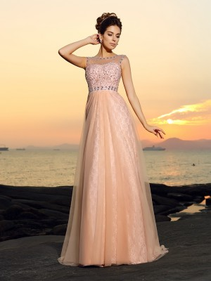 A-Line/Princess Bateau Floor-length Sleeveless Chiffon Lace Dresses