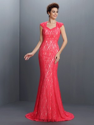 Trumpet/Mermaid V-neck Sleeveless Lace Sweep/Brush Train Lace Dresses
