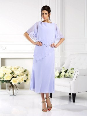 Sheath/Column Bateau 1/2 Sleeves Ankle-Length Chiffon Mother of the Bride Dresses