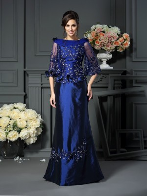 A-Line/Princess Scoop Beading 1/2 Sleeves Floor-Length Taffeta Mother of the Bride Dresses