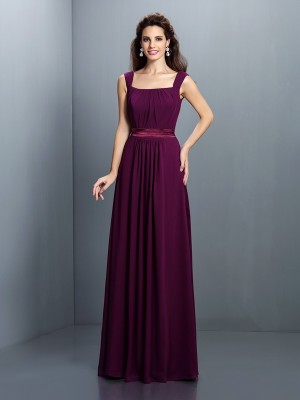 A-Line/Princess Square Sleeveless Pleats Floor-Length Chiffon Dresses