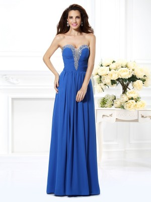 A-Line/Princess V-neck Beading Sleeveless Long Chiffon Dresses