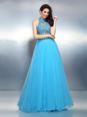A-Line/Princess High Neck Sleeveless Beading Floor-Length Satin Dresses
