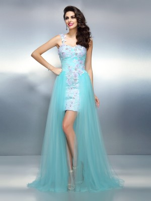 Sheath/Column One-Shoulder Sleeveless Applique Sweep/Brush Train Elastic Woven Satin Dresses