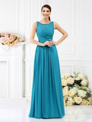 A-Line/Princess Bateau Sleeveless Pleats Floor-Length Chiffon Bridesmaid Dresses