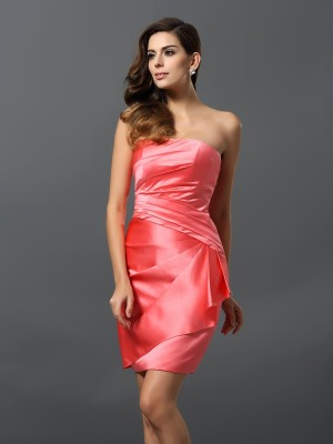 Sheath/Column Strapless Ruched Sleeveless Short Satin Bridesmaid Dresses