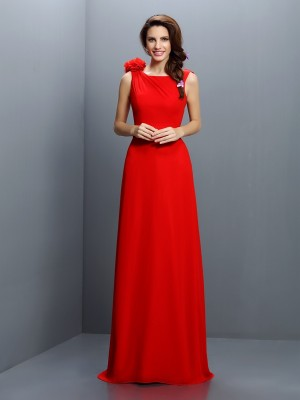A-Line/Princess Bateau Hand-Made Flower Sleeveless Long Chiffon Bridesmaid Dresses