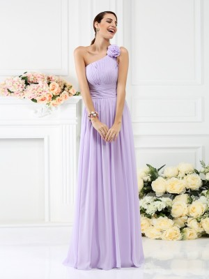 A-Line/Princess One-Shoulder Sleeveless Pleats Hand-Made Flower Floor-Length Chiffon Bridesmaid Dresses