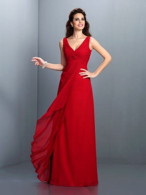 A-Line/Princess Straps Pleats Sleeveless Long Chiffon Bridesmaid Dresses