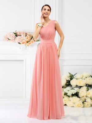A-Line/Princess One-Shoulder Sleeveless Pleats Floor-Length Chiffon Bridesmaid Dresses
