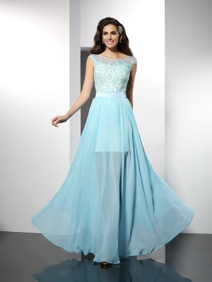 A-Line/Princess Bateau Sleeveless Applique Floor-Length Chiffon Dresses