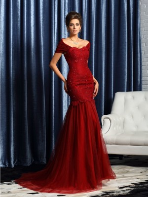 Trumpet/Mermaid Short Sleeves Off-the-Shoulder Satin Beading Sweep/Brush Train Mother of the Bride Dresses