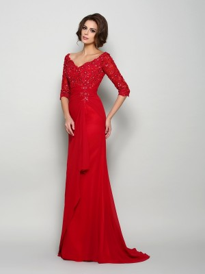 A-Line/Princess 1/2 Sleeves V-neck Chiffon Sweep/Brush Train Beading Mother of the Bride Dresses