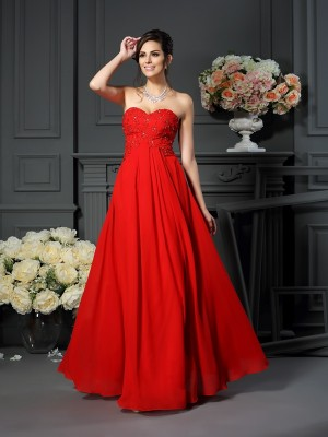 A-Line/Princess Sweetheart Beading Sleeveless Floor-Length Chiffon Mother of the Bride Dresses