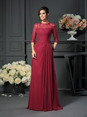 A-Line/Princess Scoop Applique 1/2 Sleeves Floor-Length Chiffon Mother of the Bride Dresses