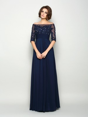A-Line/Princess 1/2 Sleeves Off-the-Shoulder Chiffon Beading Floor-Length Mother of the Bride Dresses