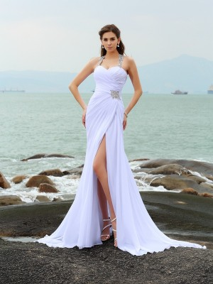 Sheath/Column Sleeveless Chiffon Straps Chapel Train Beading Wedding Dresses