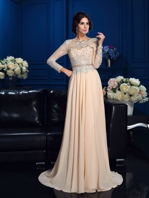 A-Line/Princess Scoop Long Sleeves Beading Sweep/Brush Train Chiffon Dresses