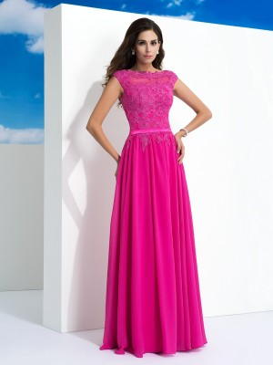 A-Line/Princess Sheer Neck Sleeveless Floor-Length Lace Chiffon Dresses