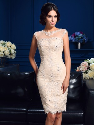 Sheath/Column Sheer Neck Lace Sleeveless Short Lace Mother of the Bride Dresses