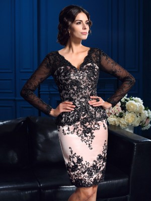Sheath/Column V-neck Long Sleeves Applique Short/Mini Lace Mother Of The Bride Dresses