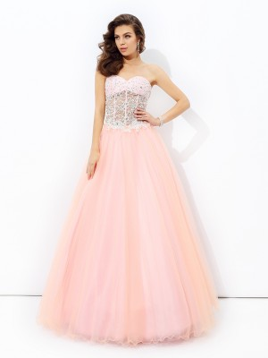 A-Line/Princess Sweetheart Lace Sleeveless Floor-length Net Dresses