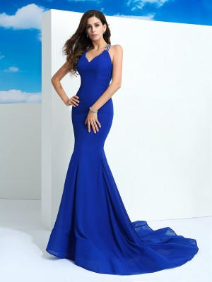 Sheath/Column Straps Beading Sleeveless Long Chiffon Dresses