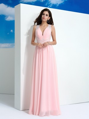 A-Line/Princess Sleeveless Straps Beading Floor-Length Chiffon Dresses