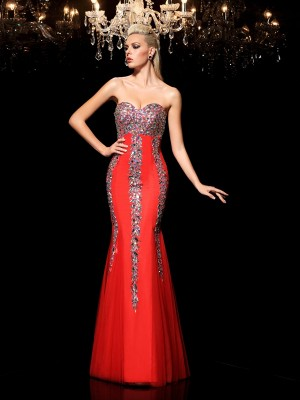 Sheath/Column Sweetheart Rhinestone Sleeveless Long Net Dresses